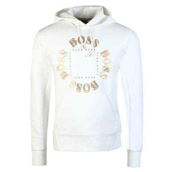BOSS Mens White Athleisure Sly Circle Hoody