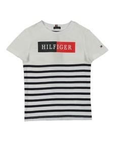 Tommy Hilfiger Kids Boys White Mixed Artwork Stripe T-Shirt