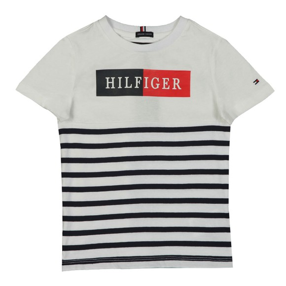 Tommy Hilfiger Kids Boys White Mixed Artwork Stripe T-Shirt