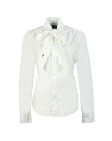 Polo Ralph Lauren Womens White MLA Bow Ribbon Shirt