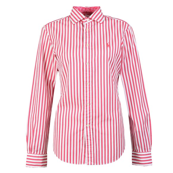 Polo Ralph Lauren Womens Pink Georgia Striped Long Sleeve Shirt