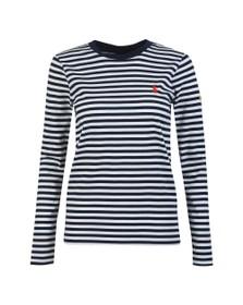 Polo Ralph Lauren Womens Blue Long Sleeve Striped T-Shirt