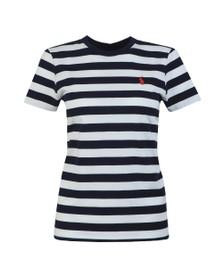 Polo Ralph Lauren Womens Blue Thick Striped Short Sleeve T-Shirt
