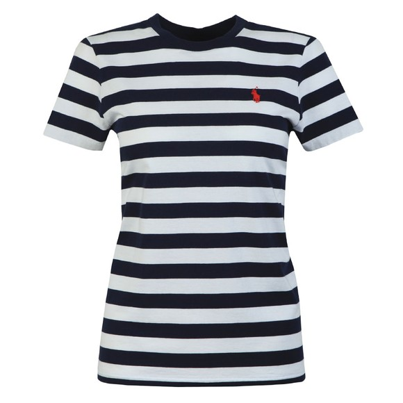 Polo Ralph Lauren Womens Blue Thick Striped Short Sleeve T-Shirt
