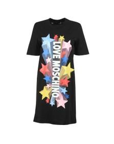 Love Moschino Womens Black Abito Stelle T-Shirt Dress