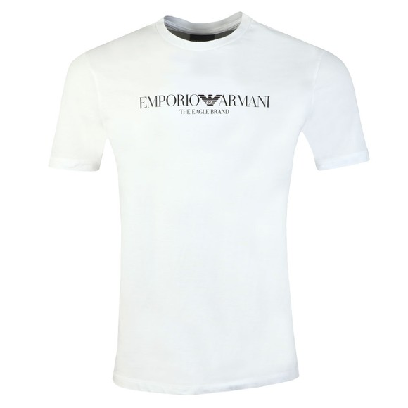 Emporio Armani Mens White The Eagle Brand T Shirt