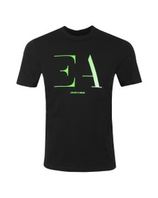 Emporio Armani Mens Black Large EA Logo T-Shirt