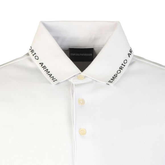 Emporio Armani Mens White Branded Collar Polo Shirt