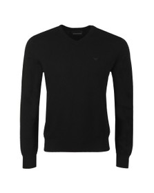 Emporio Armani Mens Black High V Neck Jumper