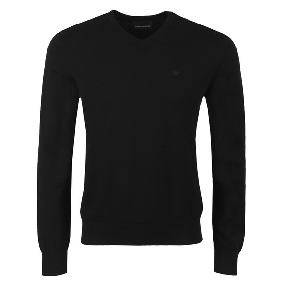 Emporio Armani Mens Black High V Neck Jumper main image