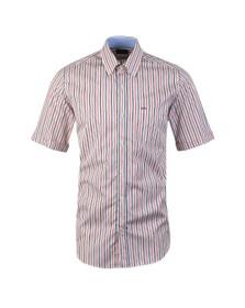 Paul & Shark Mens Red Stripe Button Down Short Sleeve Shirt