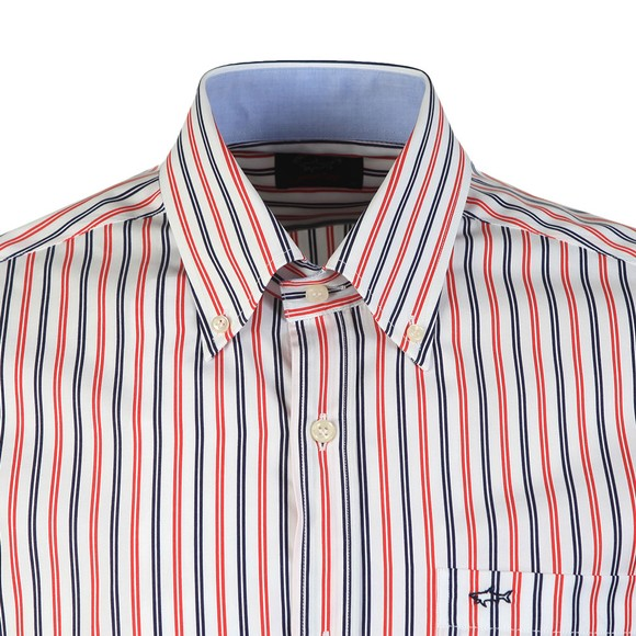 Paul & Shark Mens Red Stripe Button Down Short Sleeve Shirt