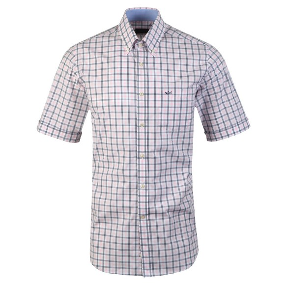 Paul & Shark Mens Pink Check Button Down Short Sleeve Shirt