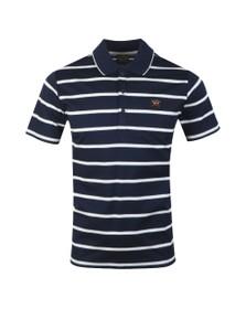 Paul & Shark Mens Blue Double Mercerized Stripe Polo Shirt