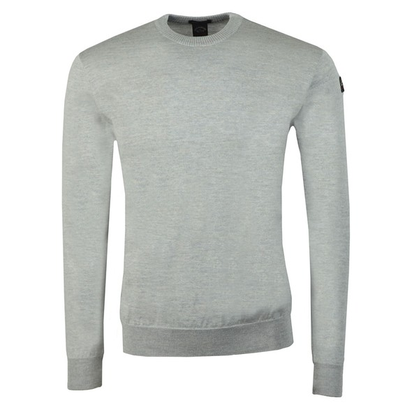 Paul & Shark Mens Grey Fine Merino Wool Crew Jumper