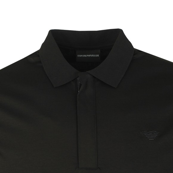 Emporio Armani Mens Black Pima Cotton Zip Polo Shirt