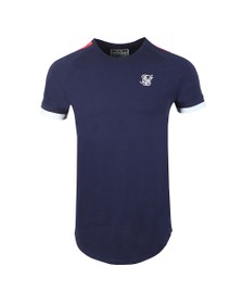 Sik Silk Mens Blue Cuff Fade Panel T-Shirt