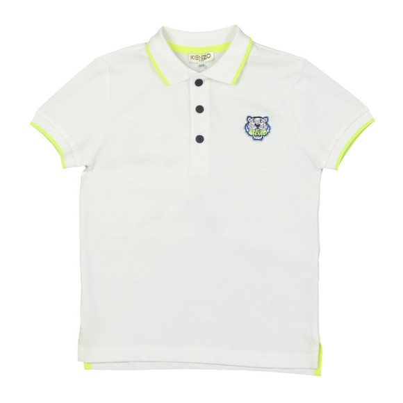 Kenzo Kids Boys White Tipped Tiger Logo Polo Shirt