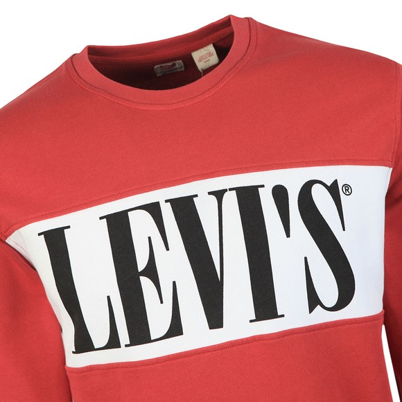 Levi's Mens Red Logo Colour Block Sweatshirt main image