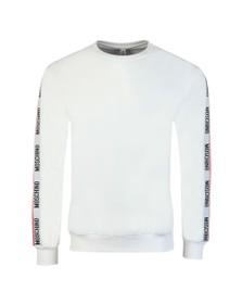 Moschino Mens White Tape Crew Sweatshirt