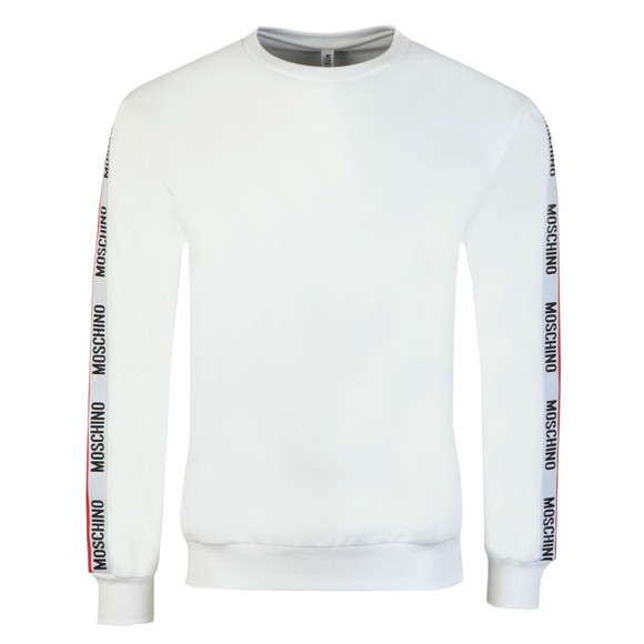 Moschino Mens White Tape Crew Sweatshirt