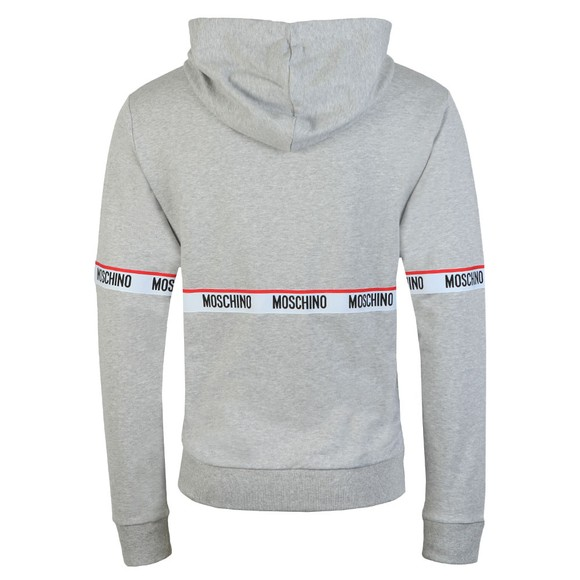 Moschino Mens Grey Tape Front Overhead Hoody