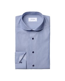 Eton Mens Blue Tile Detail Plain Shirt