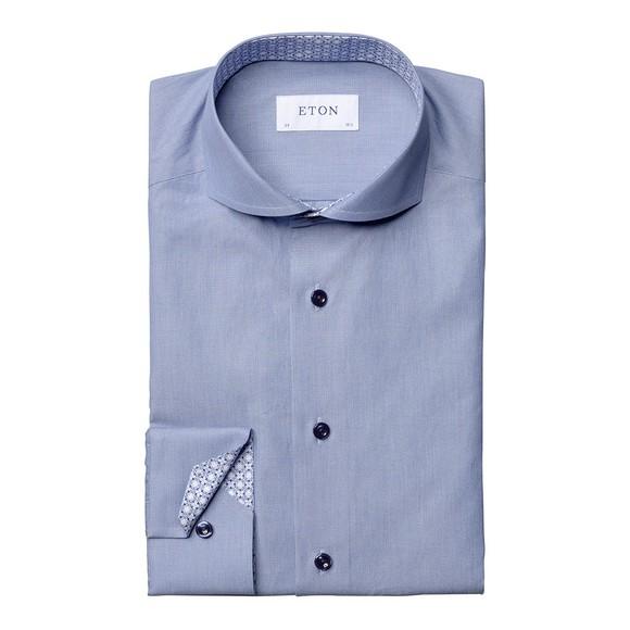 Eton Mens Blue Tile Detail Plain Shirt