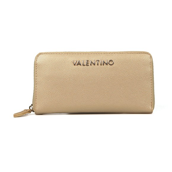 Valentino by Mario Womens Gold Divina Zip Around Purse