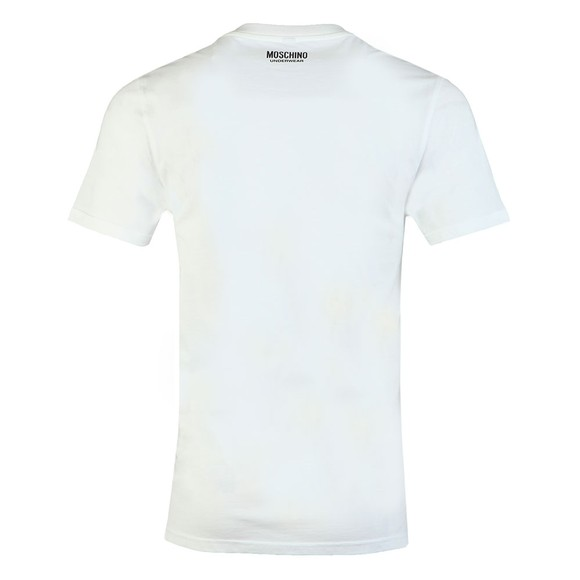 Moschino Mens White Tape Shoulder T-Shirt