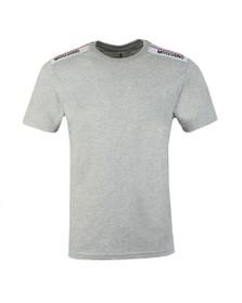 Moschino Mens Grey Tape Shoulder T-Shirt