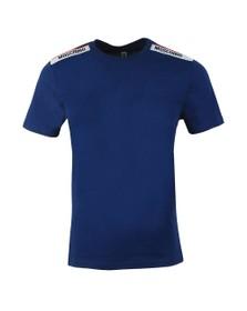 Moschino Mens Blue Tape Shoulder T-Shirt