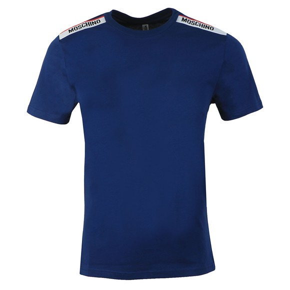 Moschino Mens Blue Tape Shoulder T-Shirt