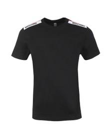 Moschino Mens Black Tape Shoulder T-Shirt