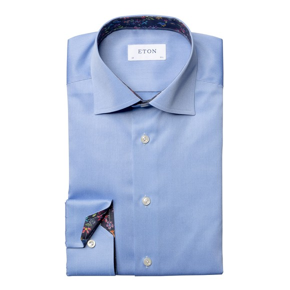 Eton Mens Blue Valley Of Flowers Shirt