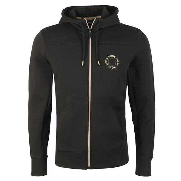 BOSS Mens Black Athleisure Saggy Circle Zip Hoody