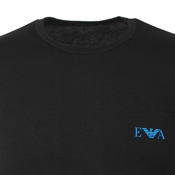Emporio Armani Mens Black Stretch Chest Logo Crew T Shirt