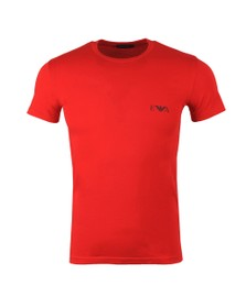 Emporio Armani Mens Red Stretch Chest Logo Crew T Shirt