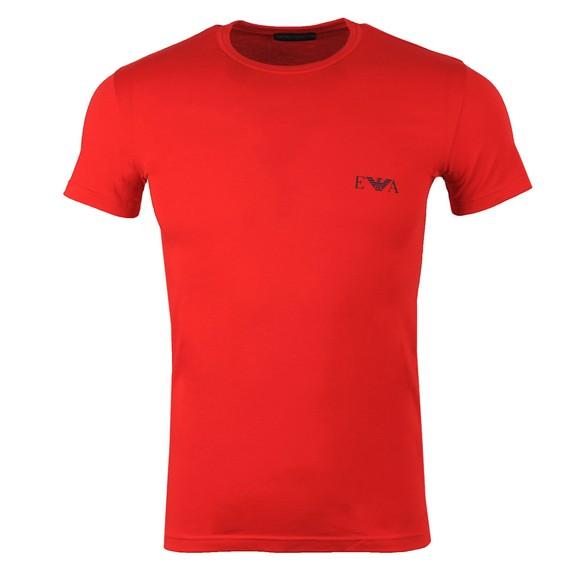 Emporio Armani Mens Red Stretch Chest Logo Crew T Shirt