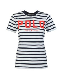 Polo Ralph Lauren Womens Blue Embroidered Polo Stripe T Shirt