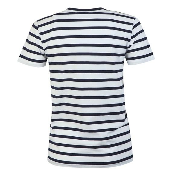 Polo Ralph Lauren Womens Blue Embroidered Polo Stripe T Shirt