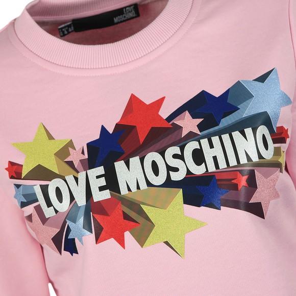 Love Moschino Womens Pink Stelline Sweatshirt