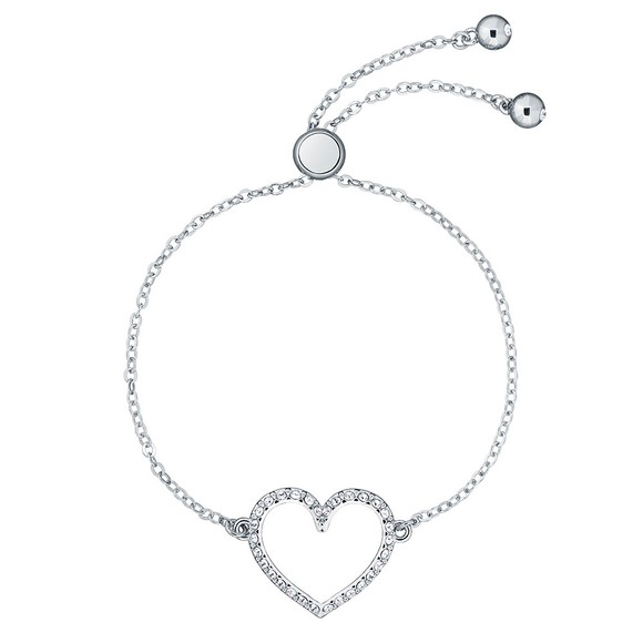 Ted Baker Womens Silver Leazina Luunar Pave Heart Bracelet