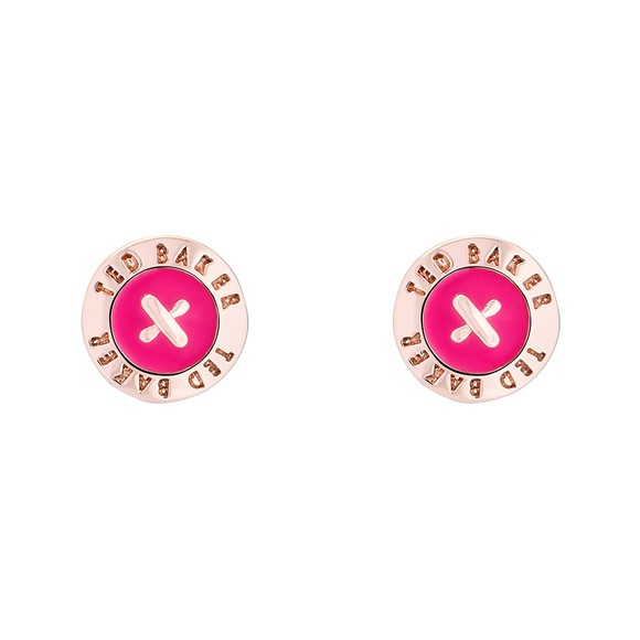 Ted Baker Womens Pink Eisley Enamel Mini Button Earrings main image