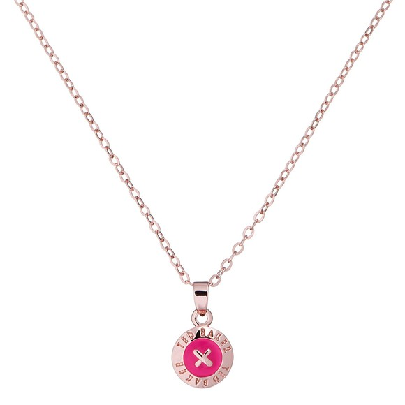 Ted Baker Womens Pink Elvina Enamel Mini Button Pendant