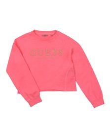 Guess Girls Pink Large Logo Active Long Sleeve Top