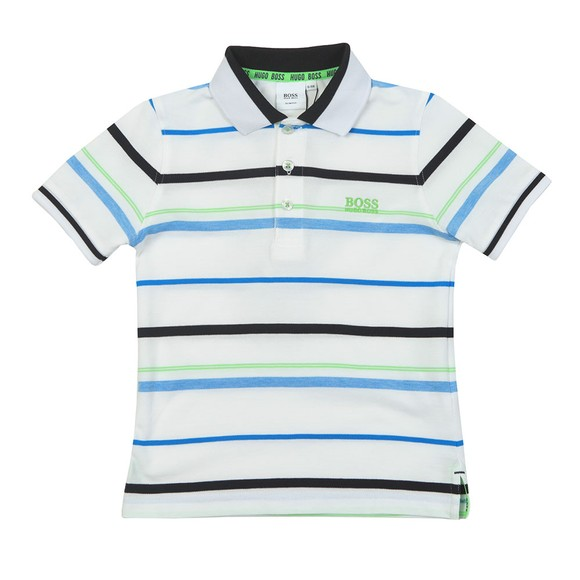 BOSS Boys Green Striped Polo Shirt