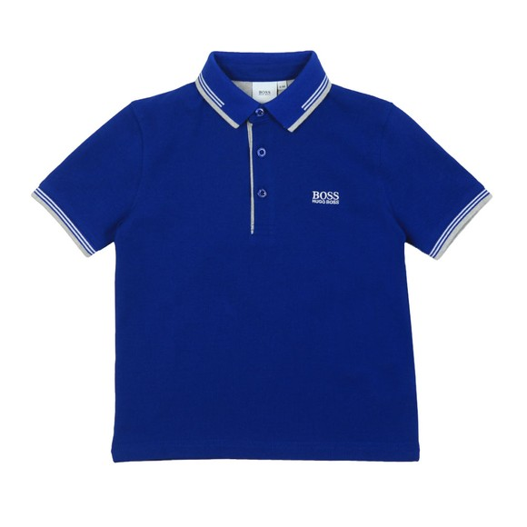 BOSS Boys Blue Short Sleeve Twin Collar Polo Shirt