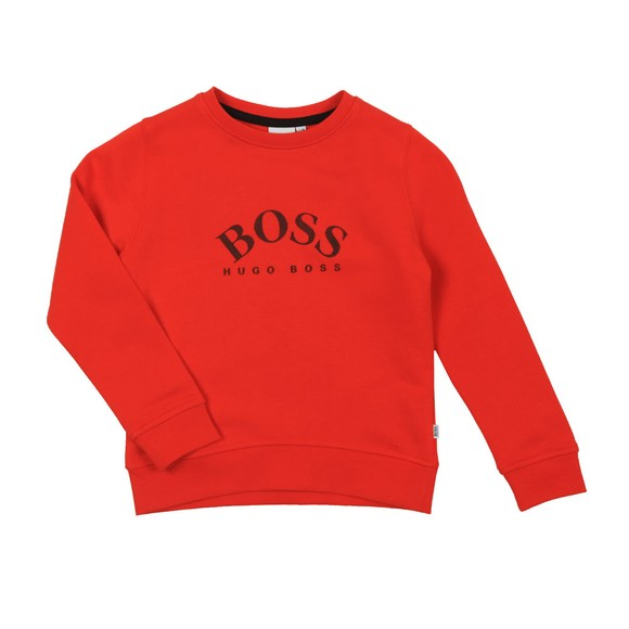 BOSS Boys Orange Curved Logo Sweatshirt