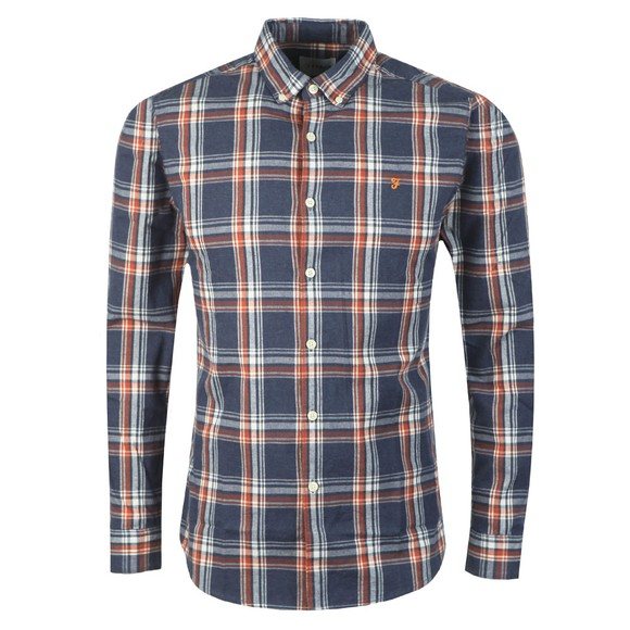 Farah Mens Blue L/S Steen Check Shirt